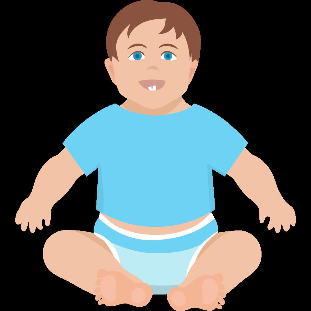 Clipart oturmuş gülümseyen erkek bebek resmi