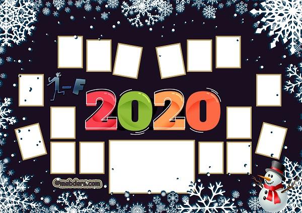 1F Sınıfı için 2020 Yeni Yıl Temalı Fotoğraflı Afiş (16 öğrencilik)