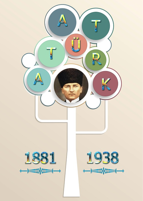 Atatürk'ün harfleriyle Atatürk ağacı afişi