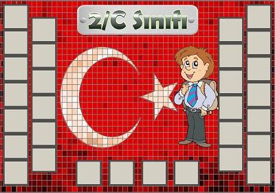 Model 54, 2C şubesi için Türk bayraklı fotoğraf eklemeli kapı süslemesi - 30 öğrencilik