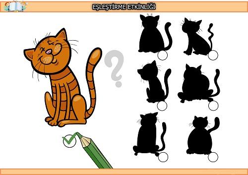 Sevimli kedi gölge eşleştirme etkinliği