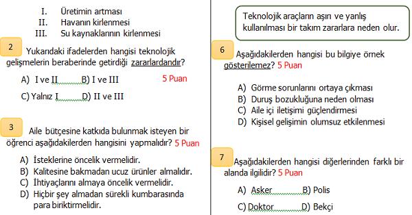 4.Sınıf Sosyal Bilgiler 2.Dönem 1.Yazılı Sınavı (İkinci Dönemi Kapsar)