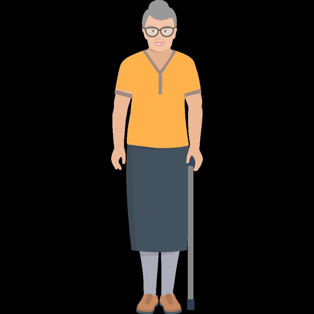Clipart bastonlu yaşlı kadın resmi