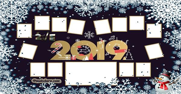 2E Sınıfı için 2019 Yeni Yıl Temalı Fotoğraflı Afiş (14 öğrencilik)