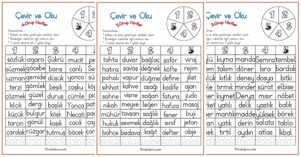 Çevir ve Oku Etkinliği - 5.Grup Harfler