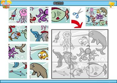 Kes yapıştır komik deniz canlıları puzzle etkinlik