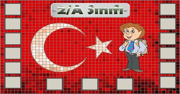 Model 54, 2A şubesi için Türk bayraklı fotoğraf eklemeli kapı süslemesi - 15 öğrencilik
