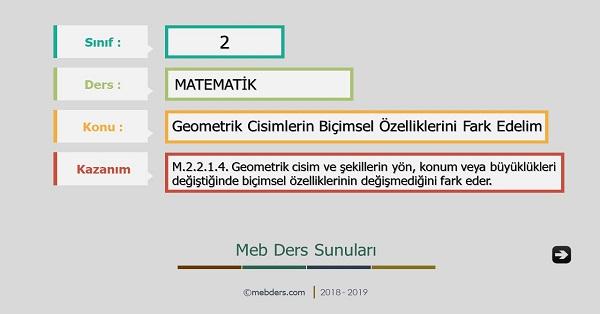 2.Sınıf Matematik Geometrik Cisimlerin Biçimsel Özelliklerini Fark Edelim Sunusu