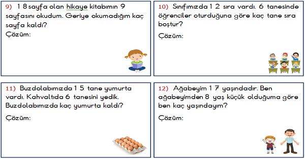 1.Sınıf Matematik Çıkarma İşlemi ile İlgili Problemler 2