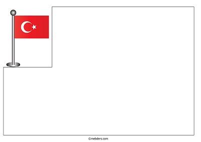Üst köşede direkli Türk Bayrağı ile resim kağıdı şablonu