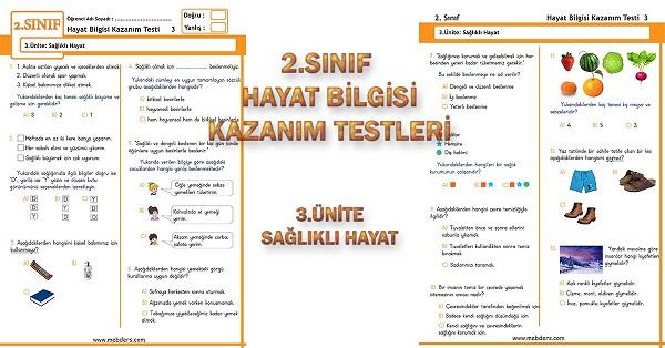 2.Sınıf Hayat Bilgisi Kazanım Testi - 3.Ünite - Sağlıklı Hayat