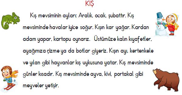 1 Sinif Turkce Sonbahar Ve Kis Mevsimi Okuma Ve Anlama Etkinligi