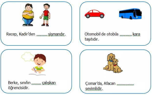 2.Sınıf Türkçe Karşılaştırma Cümleleri Etkinliği 2
