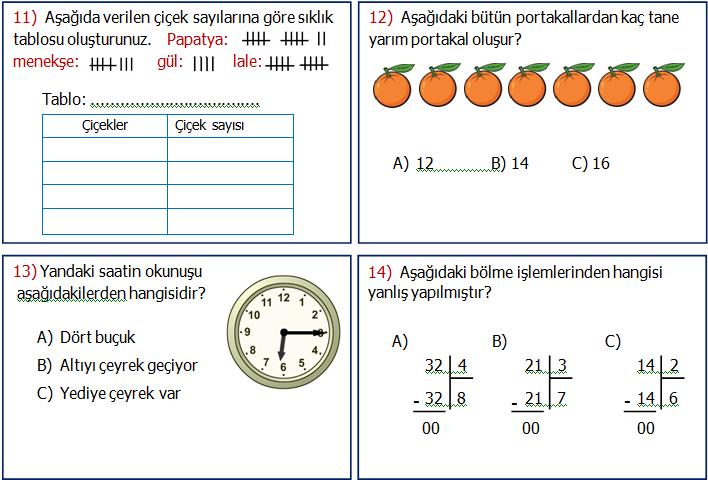 2.Sınıf Matematik Genel Değerlendirme 2
