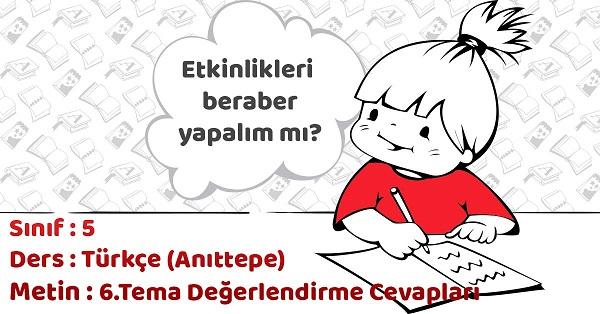 5.Sınıf Türkçe 6.Tema Değerlendirme Soruları Cevapları (Anıttepe)