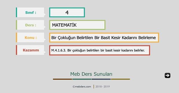 4.Sınıf Matematik Bir Çokluğun Belirtilen Basit Kesir Kadarını Belirleme Sunusu
