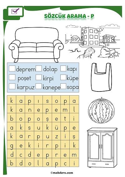 1.Sınıf İlkokuma Boyamalı Sözcük Arama Etkinliği - P Sesi