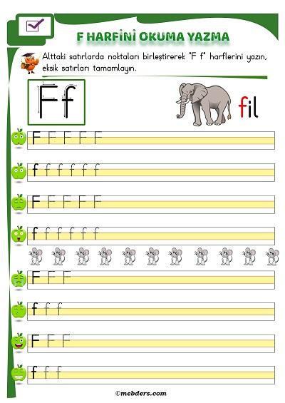 1.Sınıf İlkokuma F Sesi Okuma Yazma Etkinliği
