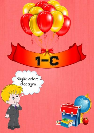 Model 2, 1C şubesi için çocuk ve balonlu kapı süslemesi