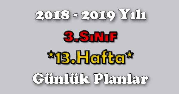 2018 - 2019 Yılı 3.Sınıf Tüm Dersler Günlük Plan - 13.Hafta