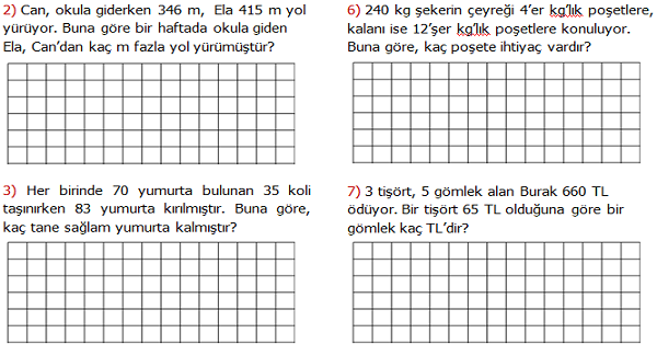 4.Sınıf Matematik Karışık Problemler Etkinliği 2