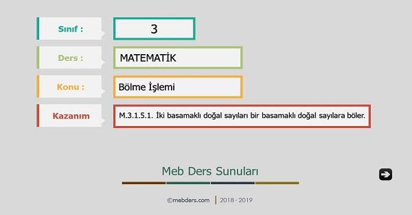 3.Sınıf Matematik Bölme İşlemi Sunusu