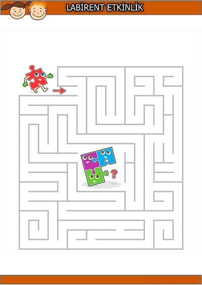 Eksik puzzle parçası labirent bulmaca etkinliği