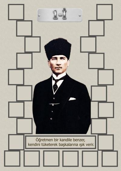 Model 15, 1İ şubesi için Atatürk temalı, fotoğraf eklemeli kapı süslemesi - 24 öğrencilik