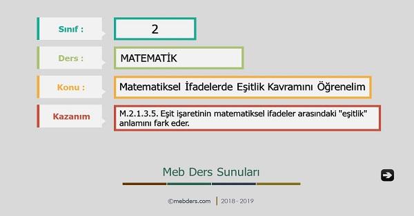 2.Sınıf Matematik Matematiksel İfadelerde Eşitlik Kavramı Sunusu
