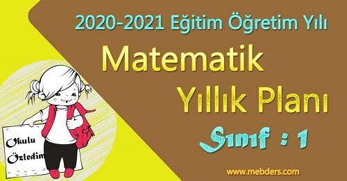 2020 - 2021 Yılı 1.Sınıf Matematik Yıllık Planı (MEB)