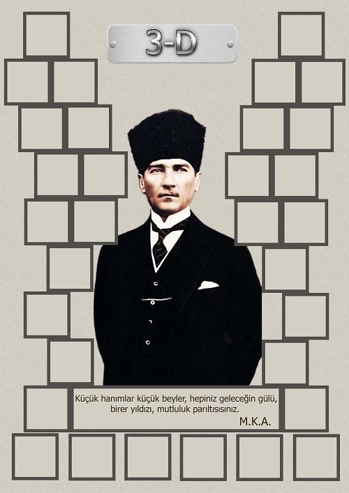 Model 15, 3D şubesi için Atatürk temalı, fotoğraf eklemeli kapı süslemesi - 32 öğrencilik