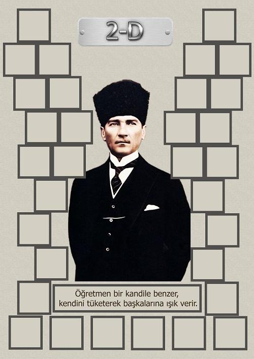 Model 15, 2D şubesi için Atatürk temalı, fotoğraf eklemeli kapı süslemesi - 32 öğrencilik