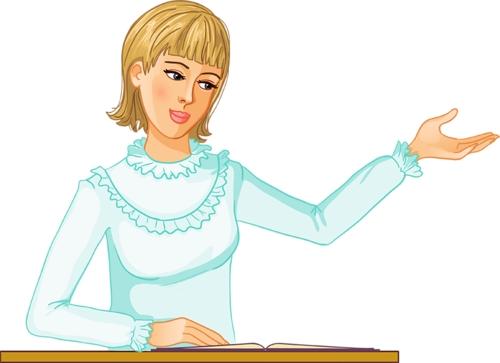 Clipart masada konuşma yapan sarışın bayan öğretmen resmi png