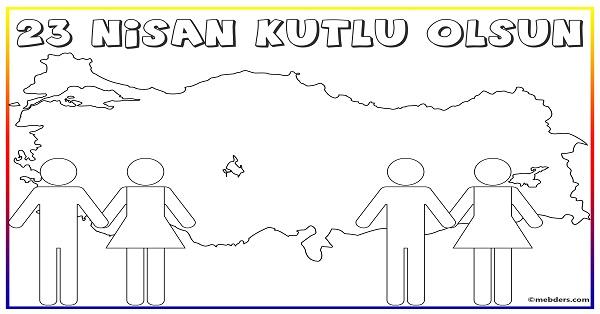 23 Nisan Turkiye Haritali Boyama Sablonu Meb Ders