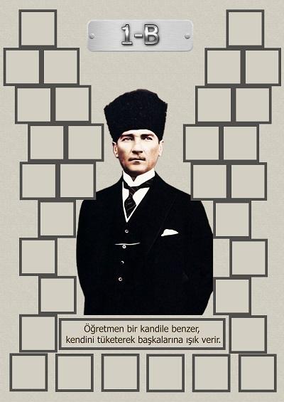 Model 15, 1B şubesi için Atatürk temalı, fotoğraf eklemeli kapı süslemesi - 32 öğrencilik
