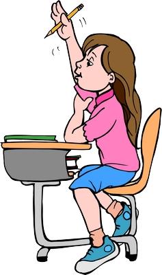 Clipart sırada oturup parmak kaldıran kız çocuğu png