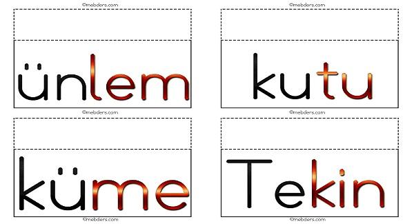 İpe asmak için 2.grup harflerle resimsiz ses, hece ve sözcük kartları