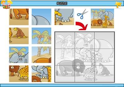 Kes yapıştır vahşi hayvanlar puzzle etkinlik
