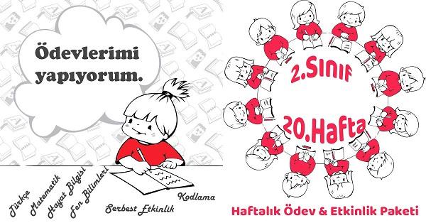 2019 2020 Yili 2 Sinif 20 Hafta Haftalik Odev Etkinlik Paketi
