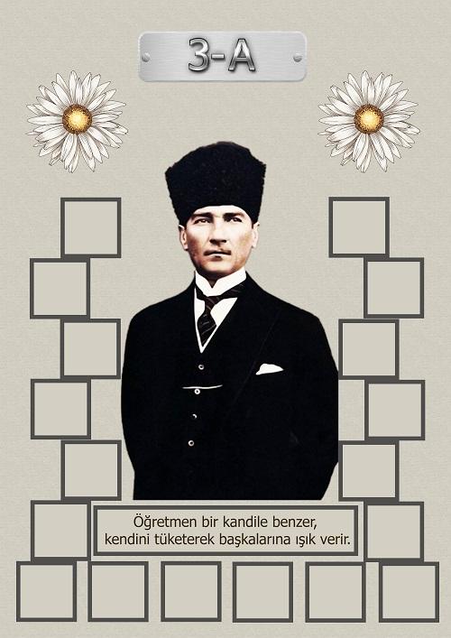 Model 15, 3A şubesi için Atatürk temalı, fotoğraf eklemeli kapı süslemesi - 18 öğrencilik
