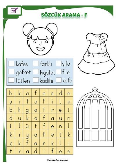 1.Sınıf İlkokuma Boyamalı Sözcük Arama Etkinliği - F Sesi