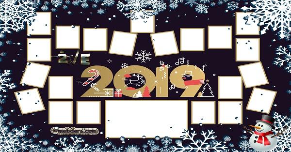 2E Sınıfı için 2019 Yeni Yıl Temalı Fotoğraflı Afiş (21 öğrencilik)