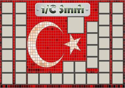 Model 54, 1C şubesi için Türk bayraklı fotoğraf eklemeli kapı süslemesi - 40 öğrencilik