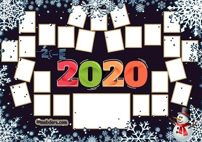 2E Sınıfı için 2020 Yeni Yıl Temalı Fotoğraflı Afiş (25 öğrencilik)