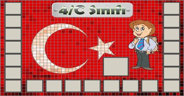 Model 54, 4C şubesi için Türk bayraklı fotoğraf eklemeli kapı süslemesi - 21 öğrencilik