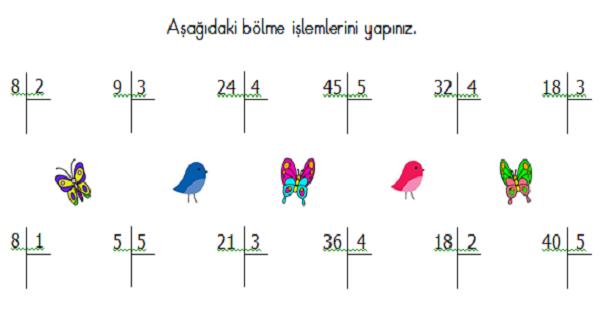 2.Sınıf Matematik Karışık Alıştırmalar (Dört İşlem) Etkinliği