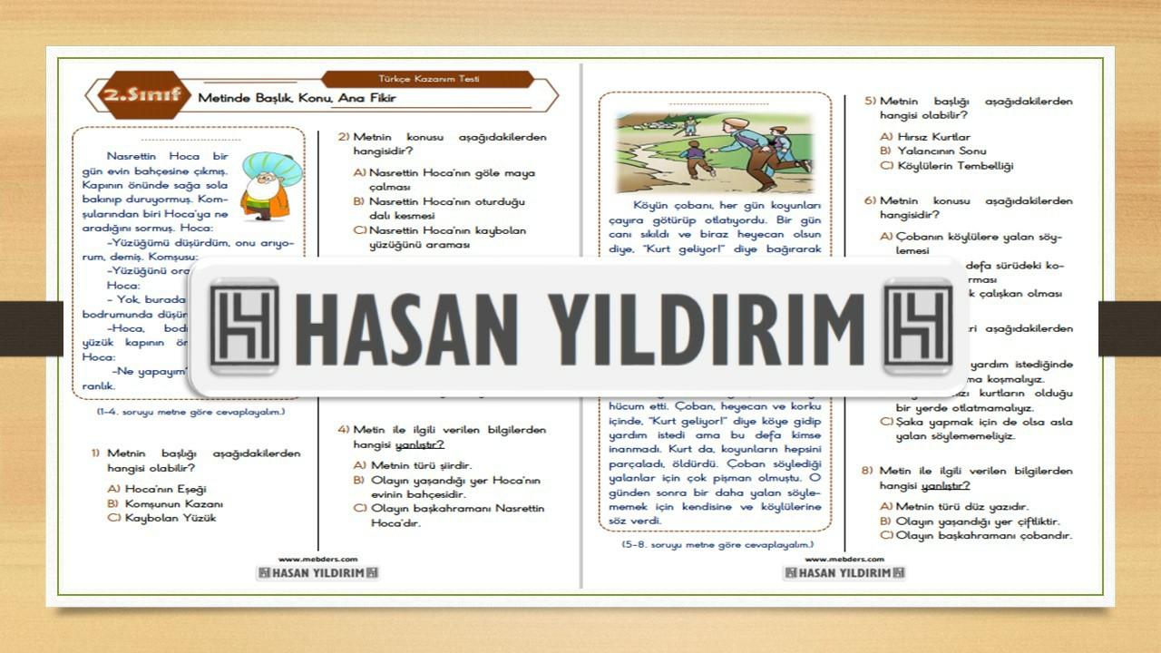 2.Sınıf Türkçe Metinde Başlık, Konu, Anafikir Testi
