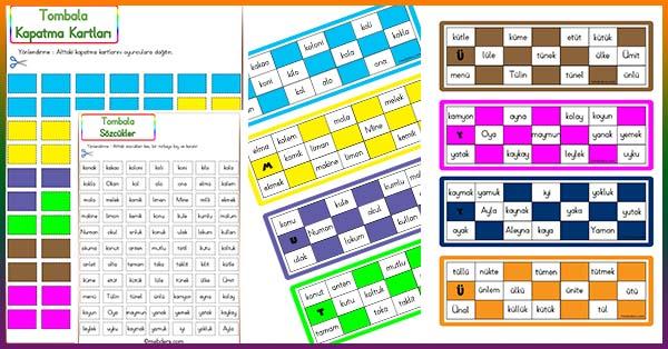 1.Sınıf İlk Okuma Sözcüklerle Tombala Oyunu
