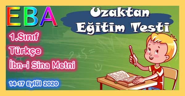 1.Sınıf Türkçe İbni Sina Metni Uzaktan Eğitim Testi pdf