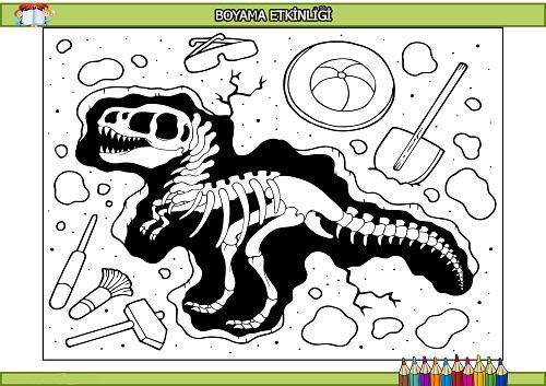 Fosil dinozor boyama etkinliği
